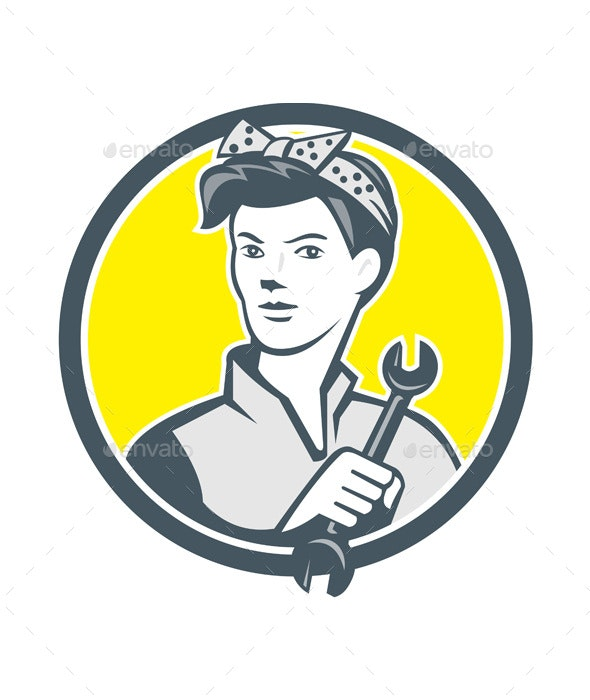 Female Mechanic Worker Holding Wrench Retro - Industries Business