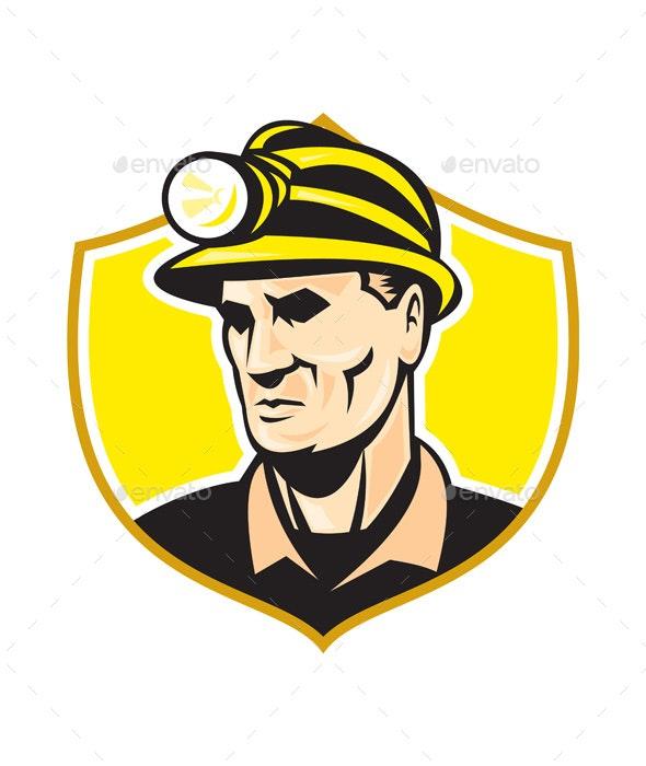 Miner With Hardhat Helmet Shield Retro - Industries Business