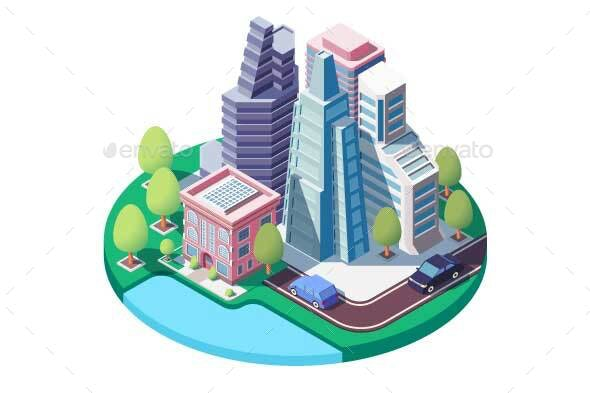 Isometric City Landscape with Street - Buildings Objects