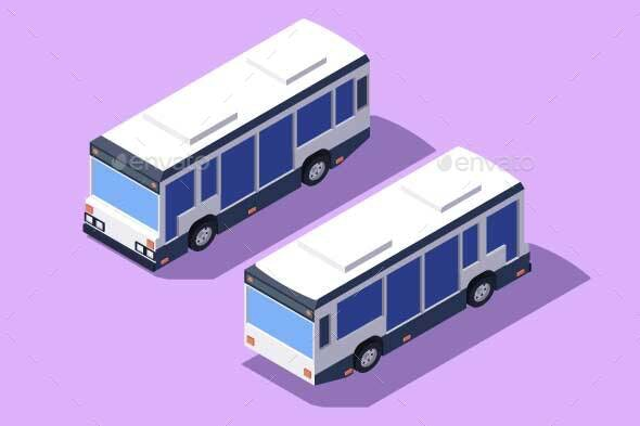 Set Front and Back View Bus for Transportation - Man-made Objects Objects