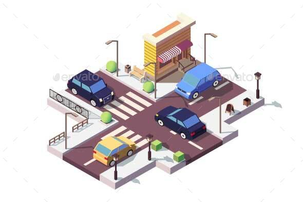 Isometric Landscape with Car on Street - Man-made Objects Objects