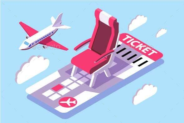 Isometric Ticket for Flight in Sky - Travel Conceptual