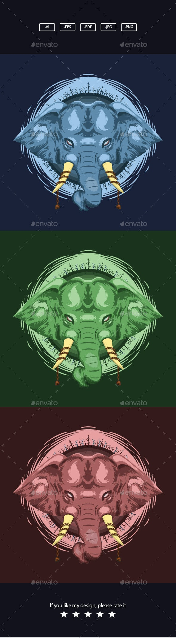 Angry Elephant Head Illustration - Animals Characters