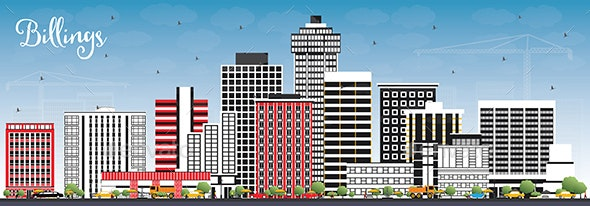 Billings Montana City Skyline with Color Buildings - Buildings Objects