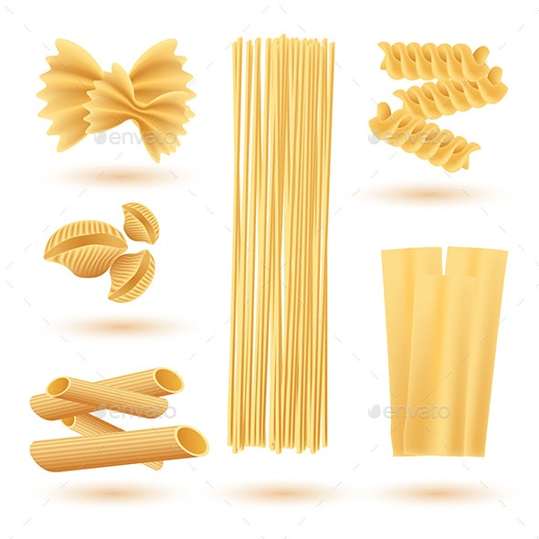 Isolated Set of Italian Pasta - Food Objects