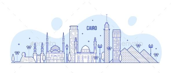 Cairo Skyline Egypt City Buildings Vector Line Art - Buildings Objects