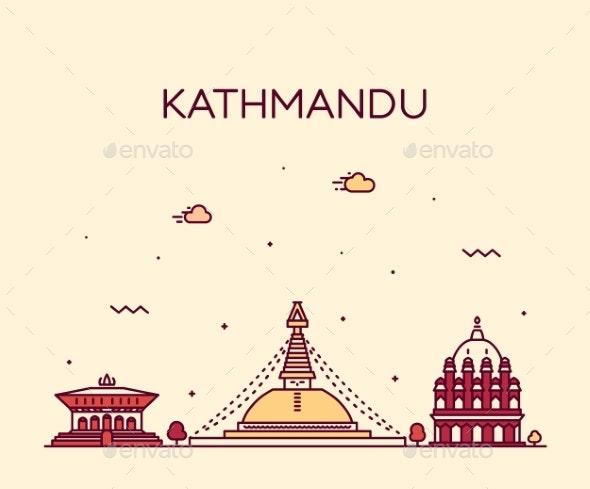 Kathmandu Skyline Nepal Trendy Vector Linear Style - Buildings Objects