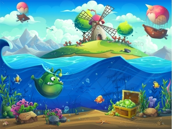 Undersea World with Inhabitants and the Island - Backgrounds Decorative