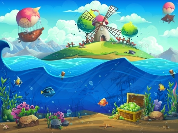 Undersea World with Grinder on the Island - Backgrounds Decorative