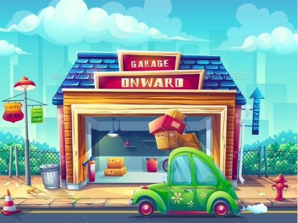 Vector Cartoon Illustration Garage - Backgrounds Decorative