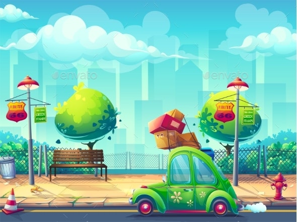 Vector Illustration Background with Car - Landscapes Nature
