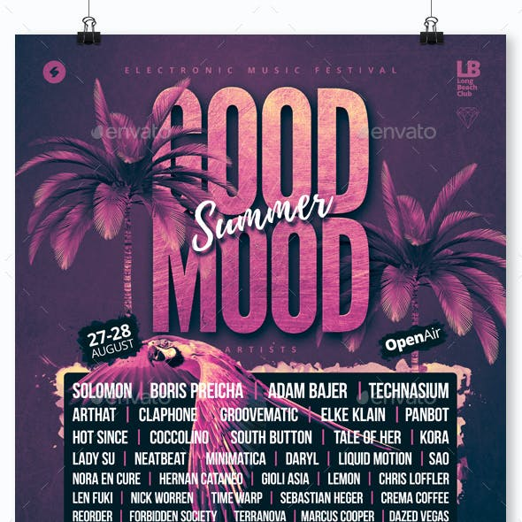 Good Mood Festival - Summer Party Flyer / Poster Template A3