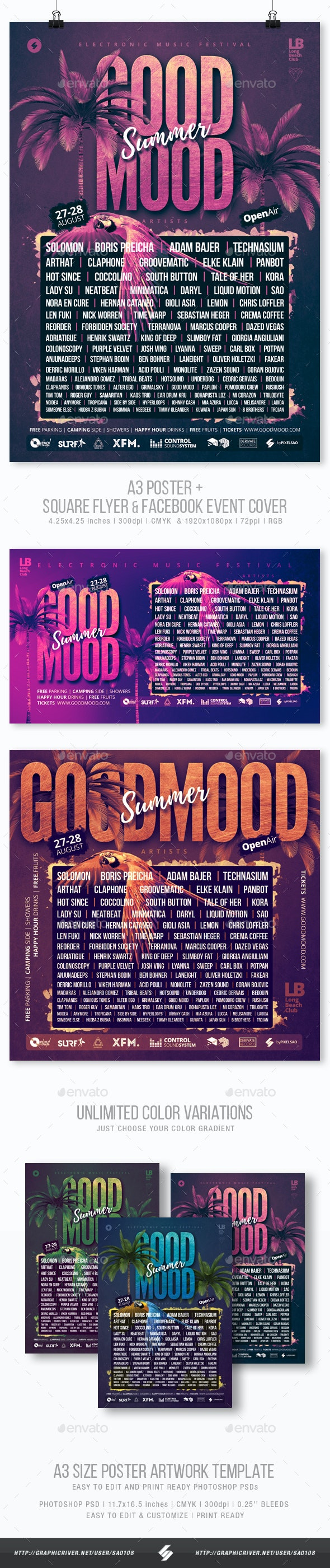 Good Mood Festival - Summer Party Flyer / Poster Template A3 - Clubs & Parties Events