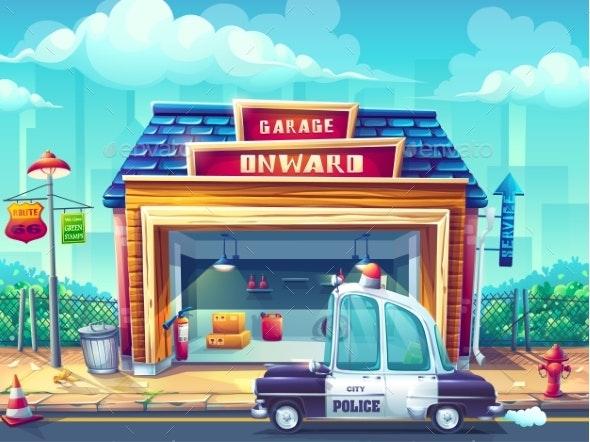 Vector Cartoon Illustration Image the Police Car - Backgrounds Decorative