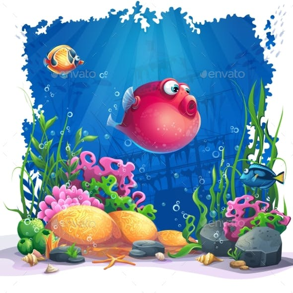 Vector Image Background the Marine Life Landscape