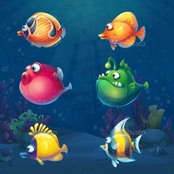 Set of Cartoon Fish in Underwater World - Animals Characters