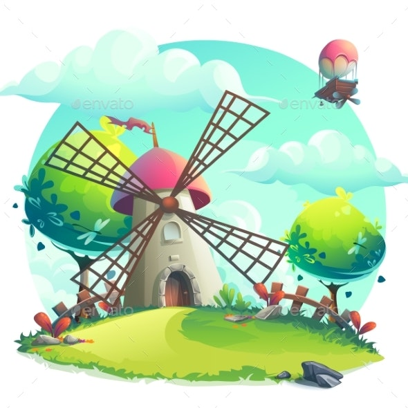 Vector Illustration Background Mill on the Hill - Landscapes Nature