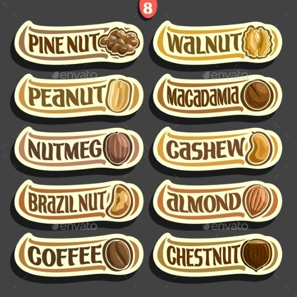 Vector Set of Nuts Labels