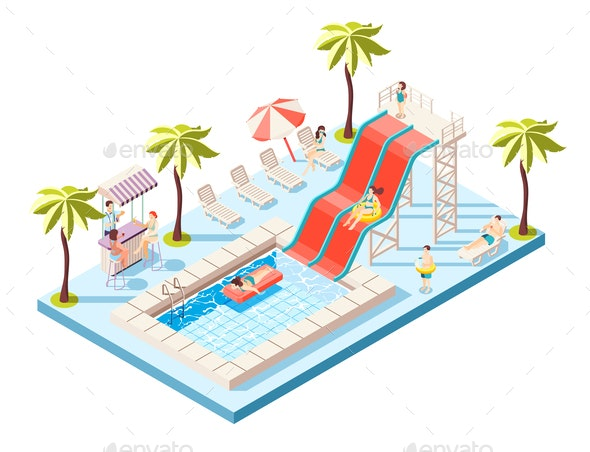 Aquapark Isometric Composition - Sports/Activity Conceptual