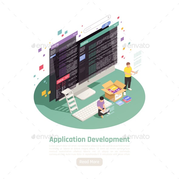 Isometric App Dev Background - Web Technology