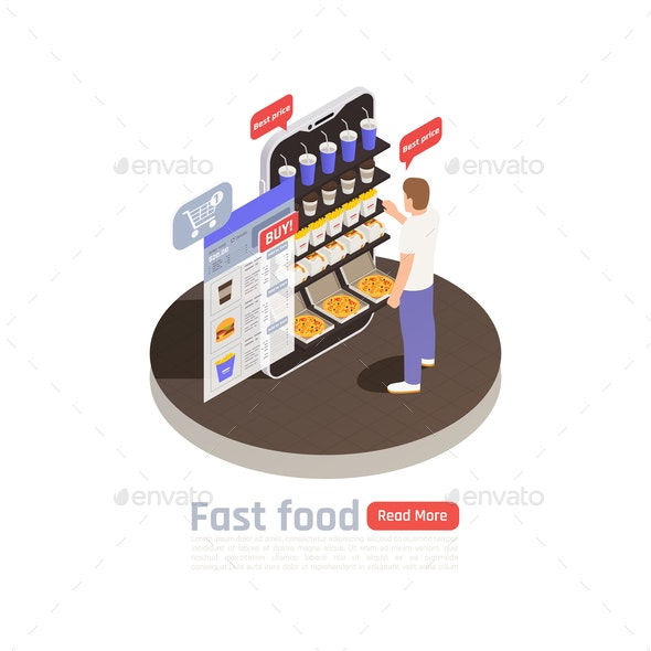 Fast Food Isometric Composition - Food Objects