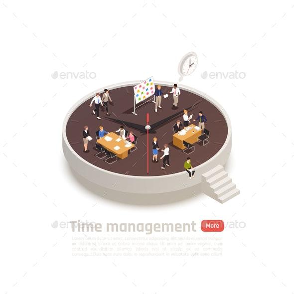 Time Management Isometric Round Concept - Miscellaneous Conceptual