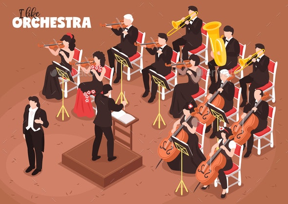 Orchestra Musicians Isometric Composition - People Characters