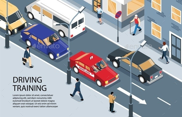 Street Driving Training Background - Miscellaneous Vectors