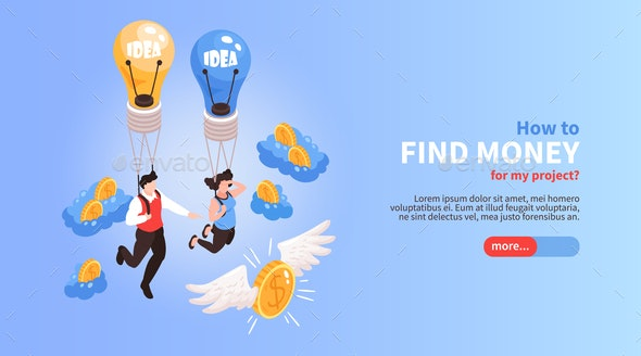 Crowdfunding Isometric Web Banner - Concepts Business