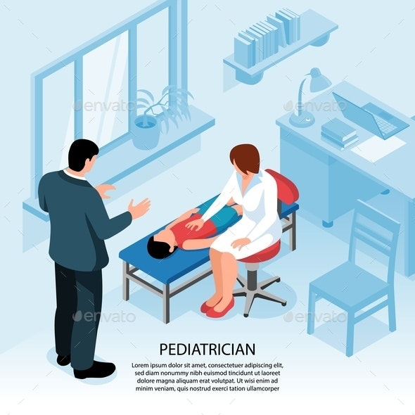 Isometric Pediatrician Office Background - People Characters