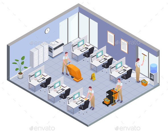 Cleaning Isometric Composition - Services Commercial / Shopping