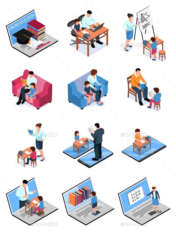 Isometric Family Homeschooling Set - Miscellaneous Vectors