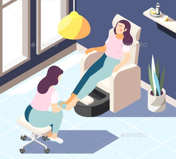 Spa Salon Isometric Background - People Characters