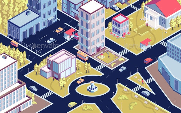 Isometric City District Composition - Miscellaneous Vectors
