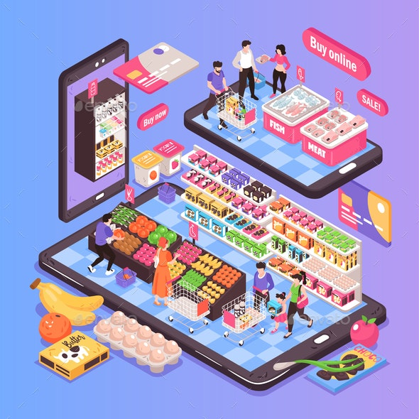 Online Supermarket Isometric Composition - Food Objects