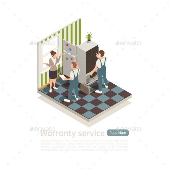 Warranty Service Isometric Composition