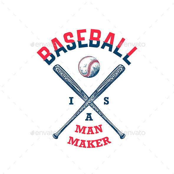 Hand Drawn Sketch of Baseball Ball and Bat With Motivation - Sports/Activity Conceptual