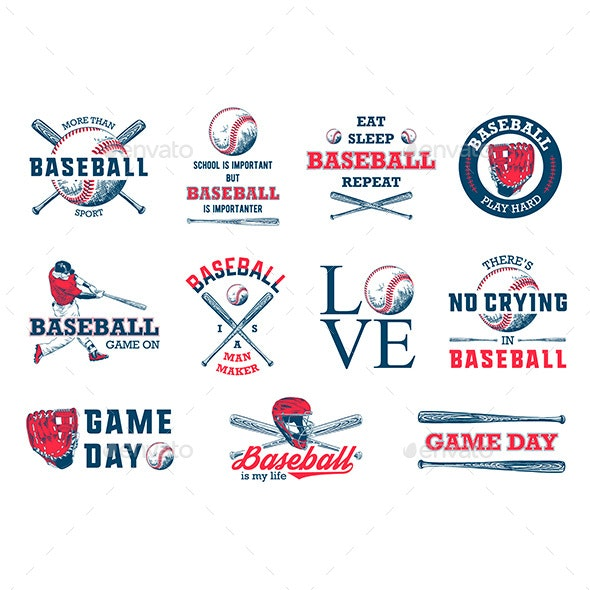 Hand Drawn Baseball Sketches With Motivational Typography - Sports/Activity Conceptual