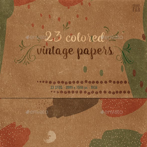 23 Colored Vintage Papers