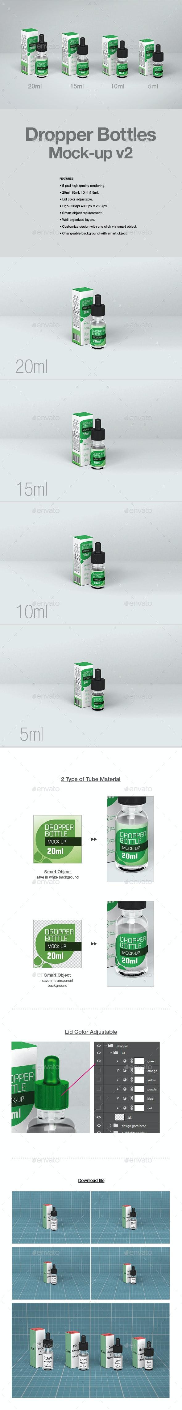 Dropper Bottles Mock-up v2 - Packaging Product Mock-Ups
