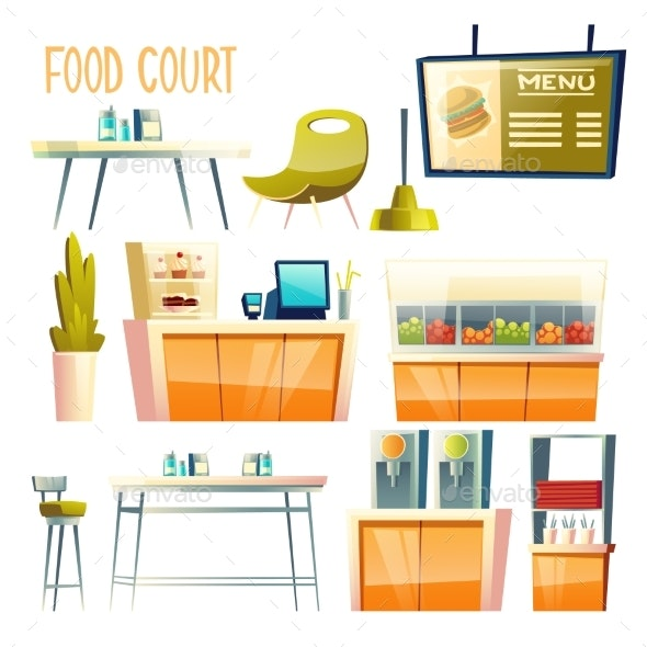 Food Court Interior Elements Cartoon Vector Set - Food Objects