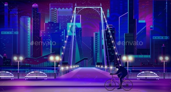 Modern City Nigh Embankment Vector Background - Backgrounds Decorative