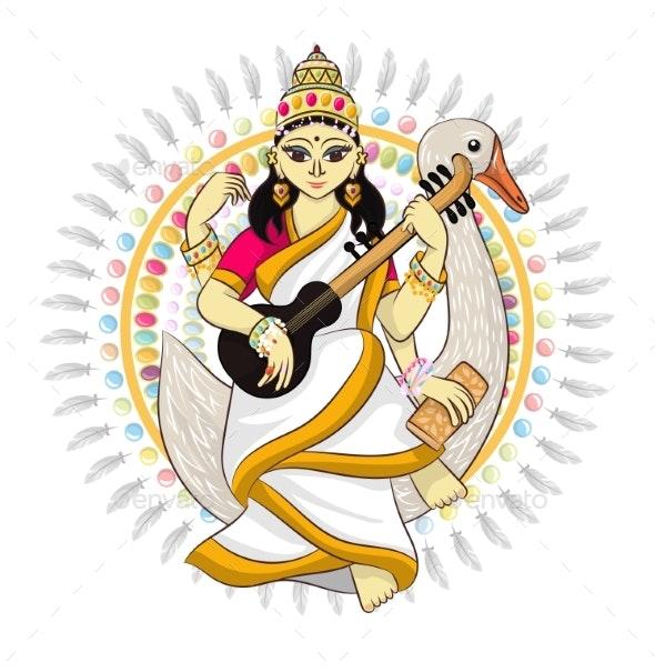 Indian God Vector Hinduism Godhead of Goddess - Religion Conceptual