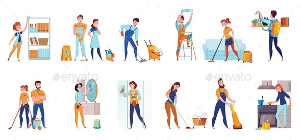 Cleaning Service Horizontal Sets - People Characters