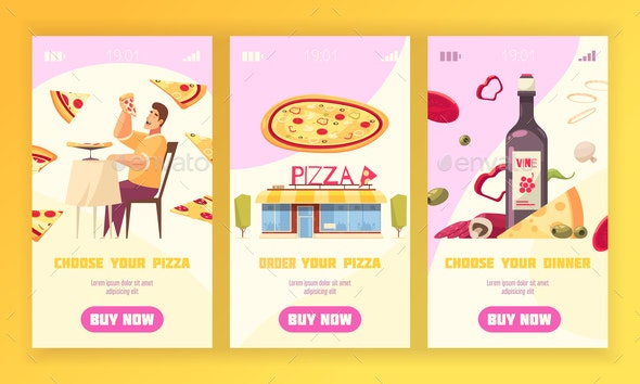 Pizza Vertical Banner Set - Food Objects