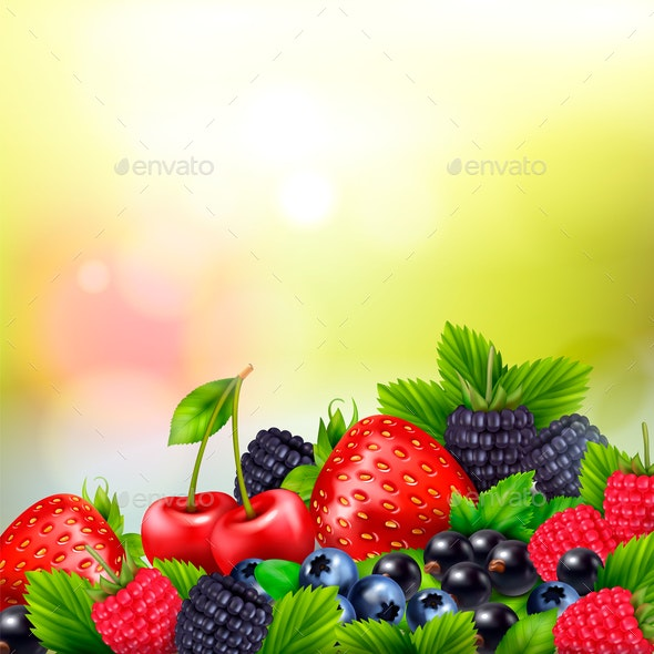 Realistic Berries Blurred Background - Food Objects