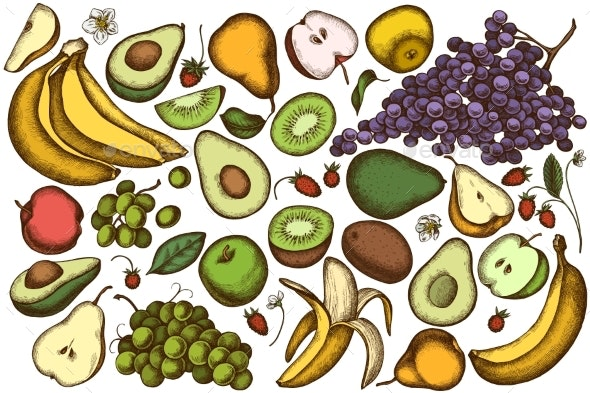 Vector Set of Hand Drawn Colored Fruits - Food Objects