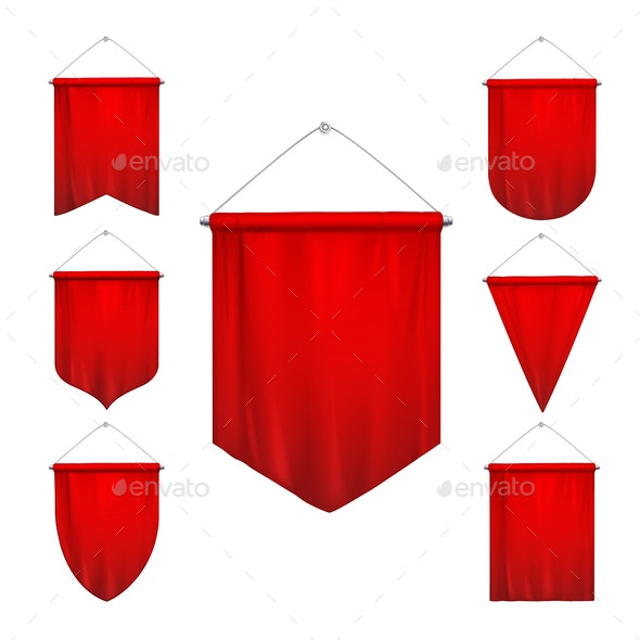 Red Pennants Realistic Set - Sports/Activity Conceptual