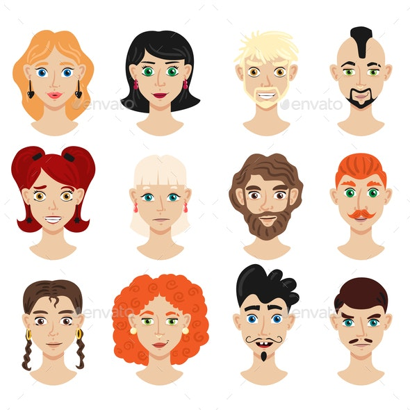 Portrait Face Creator Set - People Characters