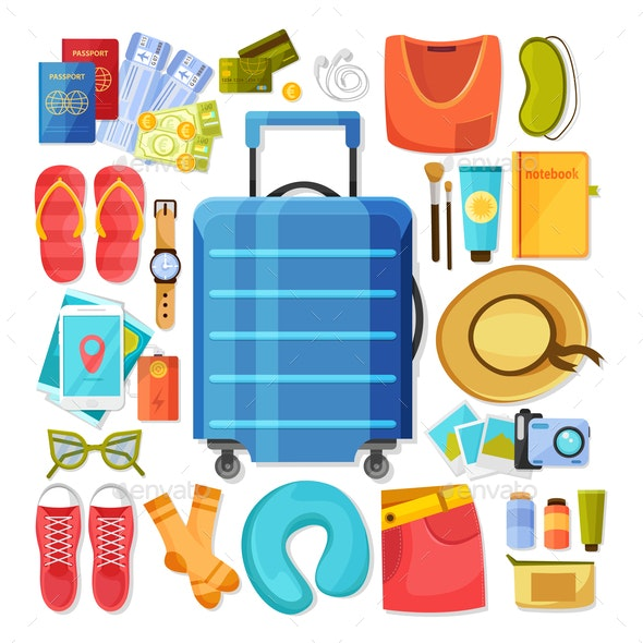 Suitcase Contents Flat Icons - Buildings Objects